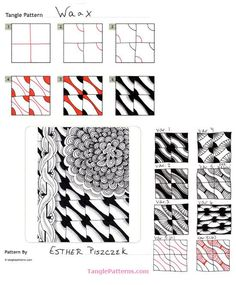 Waax. Zentangle Pattern with Variations and Example by Esther Piszczek.