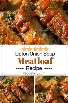 Apr 2020 - Meatloaf is a recipe that appears to have lost popularity, although it still has that same great taste. This is particularly true with the lipton onion soup meatloaf. Lipton Meatloaf Recipe, Onion Soup Meatloaf, Classic Meatloaf Recipe, Good Meatloaf Recipe, Meat Loaf Recipe Easy, Best Meatloaf, Meatloaf Recipes, Easy Meatloaf Recipe Onion Soup Mix, Meat Recipes