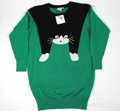NEW Chuti UGLY CAT SWEATER L 80's Vintage Rare Halloween women's sweater. Size L #Chuti #Sexy #cat #cat #halloween #catlover #gift #rare