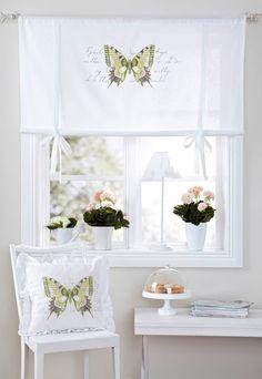 Stahovací záclona Haga s potiskem motýla. Výška 120 cm, 100% bavlna. Cena 449 Kč - ProŽeny.cz
