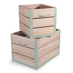 2 caisses en bois L 30 et L 40 cm GARDEN FACTORY