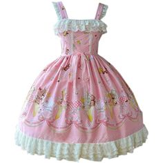 Partiss Womens Classic Icecream Printed Sweet Lolita Dress Summer... (€90) ❤ liked on Polyvore featuring dresses, day summer dresses and summer dresses