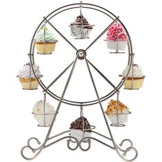"""""""Sweet Shoppe"""" 8pc Ferris Wheel Cupcake Holder ❤ liked on Polyvore featuring home, kitchen & dining, kitchen gadgets & tools, kitchen, ferris wheel cupcake stand and ferris wheel cupcake holder"""