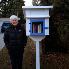 My Little Free Library is just like this - but not painted and I don't plan to do blue and white!