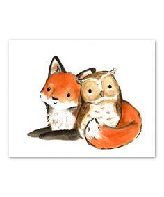 Fox & Owl Little Friends Print