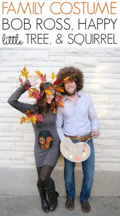 DIY pregnant Halloween costume... Bob Ross, a happy little tree, and a squirrel!  - C.R.A.F.T.