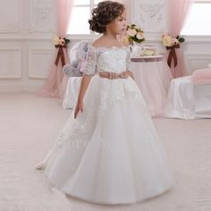 Aliexpress.com : Buy Off shoulder Organza Beaded flower girls dress for weddings Princess 2016 Long first communion dresses for girls CGF058 from Reliable dresses for baby girls suppliers on Evening Dresses 1991  | Alibaba Group
