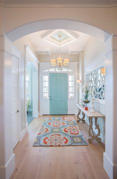 entryway & Architect: Highland Custom Homes / Imag& Wood floor / flooring; entryway & Architect: Highland Custom Homes / Image source: House of Turquoise The post Wood floor / flooring; Apartment Entrance, House Entrance, Entrance Hall, Entrance Lighting, House Of Turquoise, Br House, House Front, Flur Design, Sweet Home