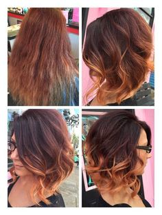 Dark red brown to blonde ombré short bob Before/after Hair by: Jesse Dale Shelton from Louisville KY.