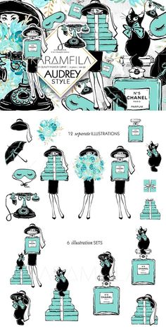 Audrey Hepburn Clipart. clipart, Audrey Hepburn illustration clip art set.