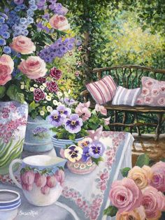 """Hottest Pictures Pansies print Style Pansies would be the bright colored blooms with """"faces."""" Your cool-weather beloved, pansies are best for Jardin Style Shabby Chic, Shabby Chic Art, Shabby Chic Garden, Hospital Gifts, Cottage Art, Pansies, Garden Art, Pink Roses, Tea Roses"""