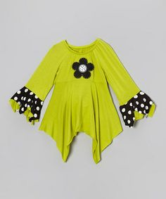Another great find on #zulily! Green Flower Ruffle Handkerchief Tunic - Toddler & Girls #zulilyfinds