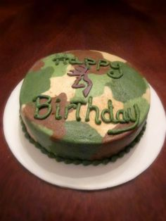 Camo birthday cakeperfect for a boys party Or customize the