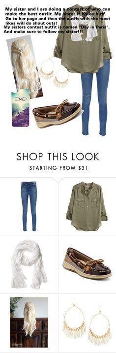 """""""Just another day!"""" by haleyhuff736 ❤ liked on Polyvore featuring Boohoo, H&M, Banana Republic, Sperry, Fragments and CellPowerCases"""