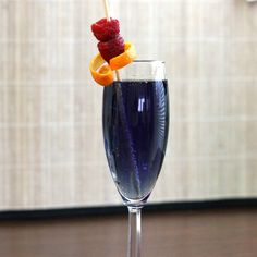 Volcano drink recipe: Raspberry liqueur, Blue Curacao, Champagne