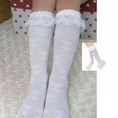 Fashion 1 Pair Pretty Girl Toddler Sock Lace Thigh Knee Winter Warm High Socks Thick Trim Frilly Ankle High Socks CL0858