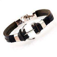 Leather Bracelet Men Anchor Bracelets