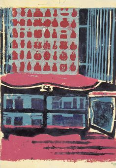 Louise Bourgeois - During the War: Shortage of Food in Easton. c. 1943. Linoleum cut