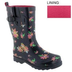 Capelli New York Shiny Flutter Floral Printed With Buckle Short Sporty Rain Boot Black