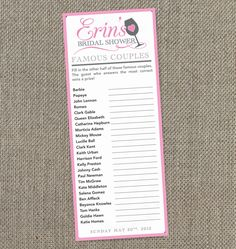 Wine Themed Bridal Shower Famous Couples Game Digital File. $15.00, via Etsy.