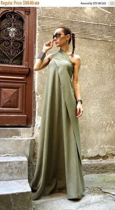 SALE NEW  Maxi Dress / Olive Green Kaftan Linen Dress / One Shoulder Dress / Extravagant Long  Dress / Party Dress  by AAKASHA A03144