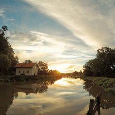 Sunrise over Göta Canal Söderköping #soderkoping #sweden #travel by bwglover