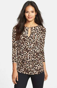 Chaus Leopard Print Faux Wrap Keyhole Top available at #Nordstrom