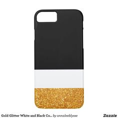 Gold Glitter White and Black Color Block iPhone 7 Case