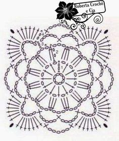 Bolsinha em Crochê com Gráfico. Diagram motif squares of top.  ☀CQ #crochet #bags #totes  http://www.pinterest.com/CoronaQueen/crochet-bags-totes-purses-cases-etc-corona/