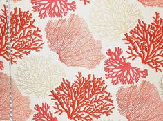 Red coral fabric pink salmon orange ocean from Brick House Fabric: Novelty Fabric