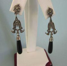 Elegant Sterling Silver, Marcasite and Black Onyx Dangle Pierced Earrings