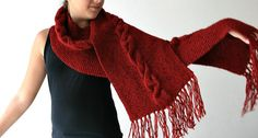 Knit Scarf in Red with Fringes- Cable Knit Pattern Wrap - Fall Winter Fashion - Women Teens Accessories on Etsy, $50.00