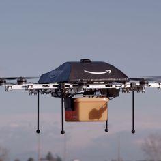 Drone de Amazon que entregará paquetes en casa de los consumidores.