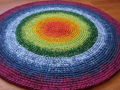 Happy Rainbow Rug 30'' in diameter hand made in the by balticfrog