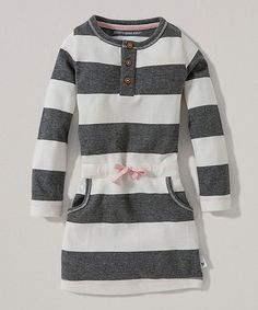 Burts Bees Baby Ivory Rugby Stripe Organic Henley Dress - Toddler & Girls | zulily