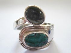 Tibetan turquoise and moonstone ring. One of a by SuloJewellery www.etsy.com/SuloJewellery