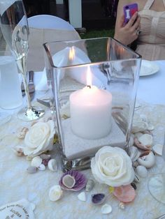 My Beach Wedding Table Centrepiece