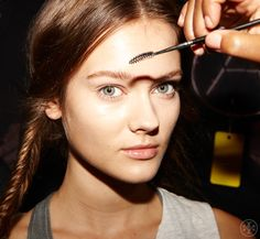 Backstage at Tory Burch Spring 2013.