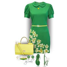 Green and Yellow (Outfit Only) I'm Back! by eula-eldridge-tolliver on Polyvore featuring moda, Whistle & Wolf, Dsquared2, Dolce&Gabbana, Kate Spade, Vera Bradley, Christina Debs and M&Co
