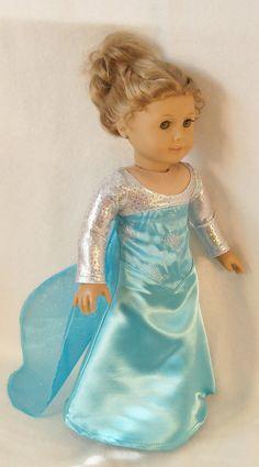 18 Inch American Girl Doll Elsa Dress from Frozen by Lynniejo, $28.50