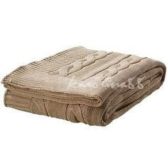 Ikea-URSULA-Knitted-throw-Cable-Knit-Cotton-Blanket-Beige-Tan-Brown-Camel-New