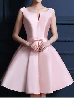 V-Neck Homecoming Dresses, Pink Short Homecoming Dresses, Pink Homecoming Dress Bowknot Lace-up Satin Short Prom Dress Party Dress Lace Homecoming Dresses, Prom Party Dresses, Evening Dresses, Dress Party, Custom Made Prom Dress, Beautiful Prom Dresses, Short Dresses, Pink Dresses, Lace Dress