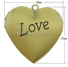 Messing Medaillon Anhänger, Herz, antike Bronzefarbe plattiert, gebürstet