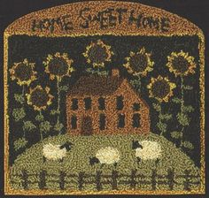 TK 086 Sunflower House 414.95 primitive saltbox house punch needle pattern