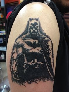 batman tattoo done by Deano, at Deadly Tattoos in Calgary, AB. Wicked Tattoos, Great Tattoos, Body Art Tattoos, Tribal Tattoos, I Tattoo, Tatoos, Nerd Tattoos, I Am Batman, Batman Comics