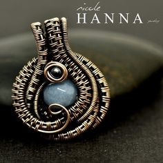 Bronze Wire Wrapped Angelite Pendant, Dew Drop Necklace from Nicole Hanna Jewelry