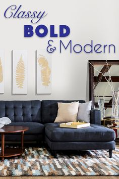 Bennett Sectional A Classic Mid Century Silhouette Modernized With Bold  Colors And A Clean Profile