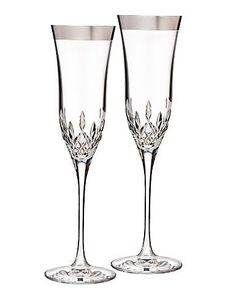 New Lismore Essence Platinum Stemware sports a luxurious, wide platinum band around the rim of each stem. Available in Goblet, Wine, Flute, and Iced Beverage pairs, Lismore Essence Platinum is the perfect complement to any platinum-accented Waterford fine china place setting.