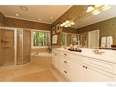we are loving the warm colors Amazing Bathrooms, Warm Colors, Corner Bathtub, Double Vanity, Home And Family, Real Estate, Design, Warm Paint Colors, Real Estates
