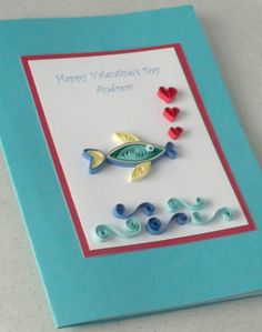 Fishy lips and kisses Paper Daisy Arte Quilling, Paper Quilling Cards, Quilling Work, Paper Quilling Patterns, Quilling Paper Craft, Paper Crafts, Quilling Ideas, Homemade Valentine Cards, Paper Daisy